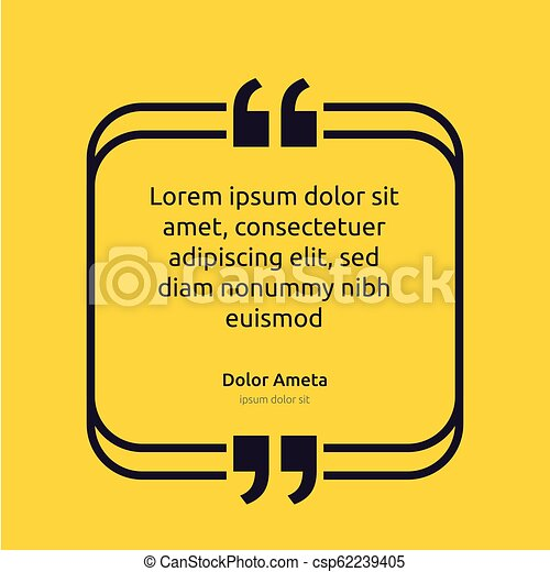 Remark quote text box poster template concept. blank empty frame citation. Quotation paragraph symbol icon. double bracket comma mark. bubble dialogue banner. typography design vector illustration. - csp62239405