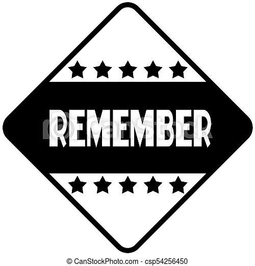 Remember on black diamond shaped sticker label csp54256450