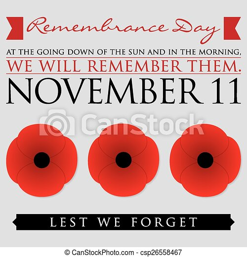Remembrance Day card in vector format. - csp26558467