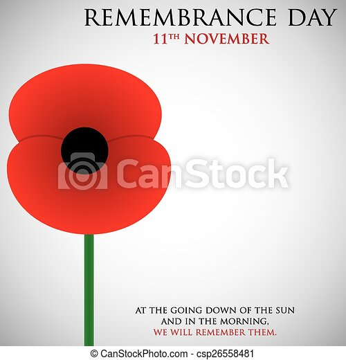 Remembrance Day card in vector format. - csp26558481