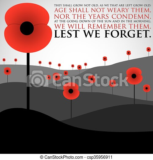 Remembrance Day card in vector format. - csp35956911