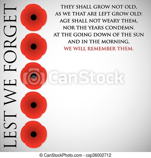 Remembrance Day card in vector format. - csp36002712