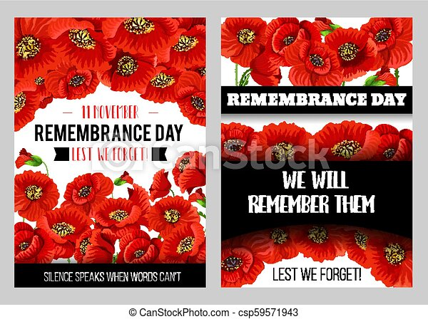 Remembrance Day Memorial Card Of Red Poppy Flower Remembrance Day