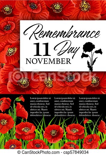 Remembrance Day Poppy Flower Memorial Card Remembrance Day Poppy