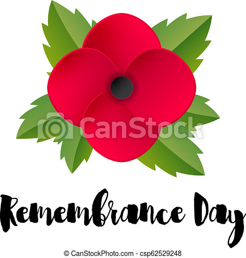 Remembrance Day Vector Card Red Poppy Flower Remembrance Day