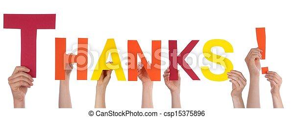 remerciement, tenant mains - csp15375896