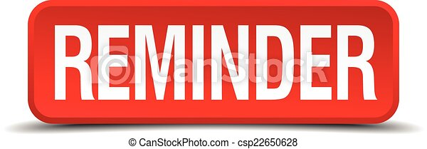 Reminder red 3d square button isolated on white - csp22650628
