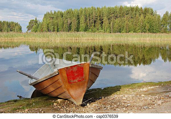 remo, rojo, barco - csp0376539