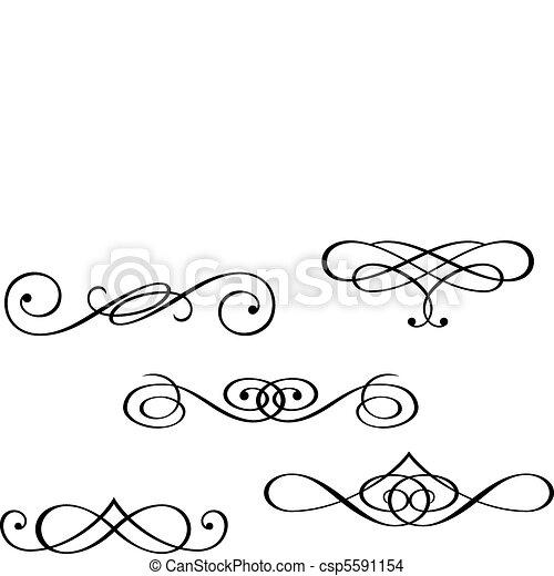 Monogramas y elementos remolinos - csp5591154
