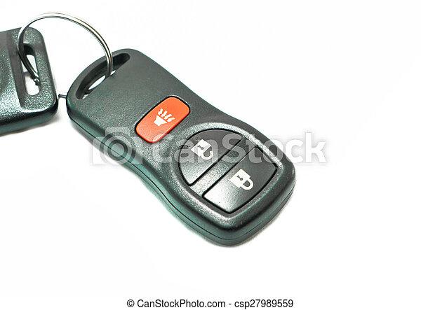 remote car key on white background - csp27989559