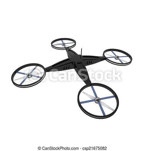Remote Controlled Quadcopter Drone Isolated On White Stock Illustration