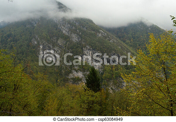 Remote landscape in northern italy on the side of the Alps - csp63084949
