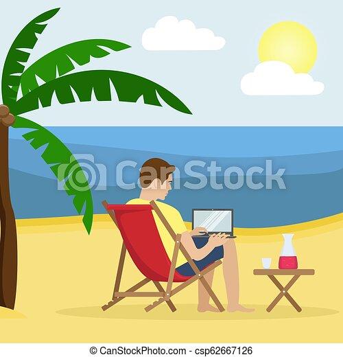 Un hombre en una cama solar trabajando en un portátil en una playa arenosa con palmeras. Trabajo remoto, independiente. Ilustración de vectores. - csp62667126