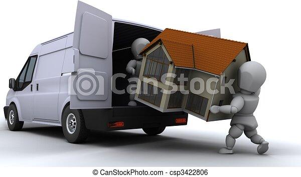 removal men loading a van - csp3422806
