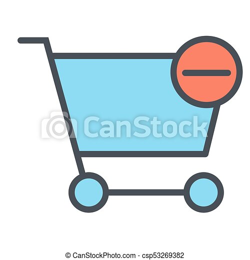 Remove Items from Shopping Cart Pixel Perfect Vector Thin Line Icon 48x48. Simple Minimal Pictogram - csp53269382