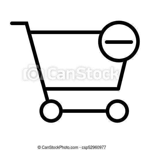 Remove Items from Shopping Cart Pixel Perfect Vector Thin Line Icon 48x48. Simple Minimal Pictogram - csp52960977