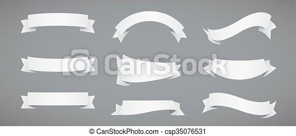 remsor, vit, papper, sätta - csp35076531