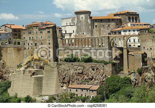 Renaissance aqueduct in Pitigliano, Tuscany - csp8258081