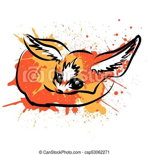 renard, caractère, fennec, dessin animé - csp53062271
