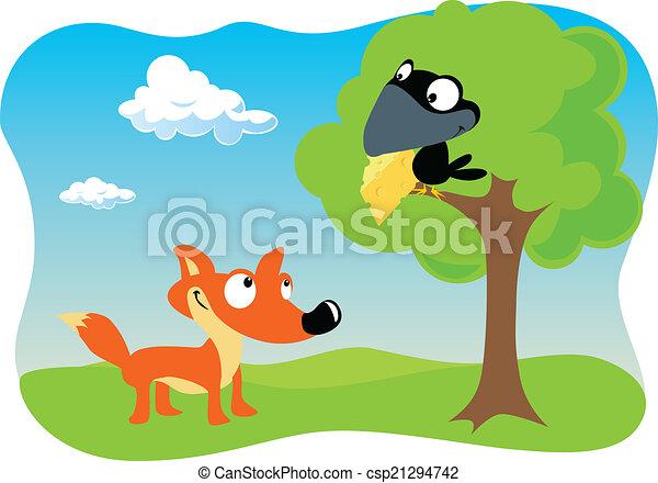 Renard corbeau fromage corbeau renard tenue bec - Coloriage le corbeau et le renard ...