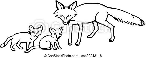 renard, petits, mère - csp30243118