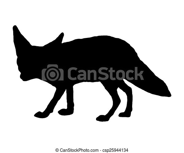 renard, silhouette, fennec - csp25944134