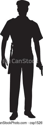 rendőrség, hím, árnykép, tiszt - csp15261764