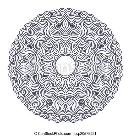renda, padrão, contemporâneo, doily, floral, redondo - csp20575921