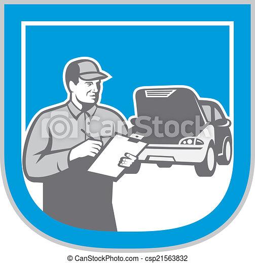 rendbehozás, autó, autó, retro, szerelő, autó, ellenőriz - csp21563832