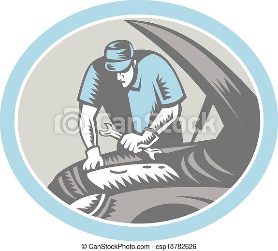 rendbehozás, fametszet, autó, retro, szerelő, autó - csp18782626