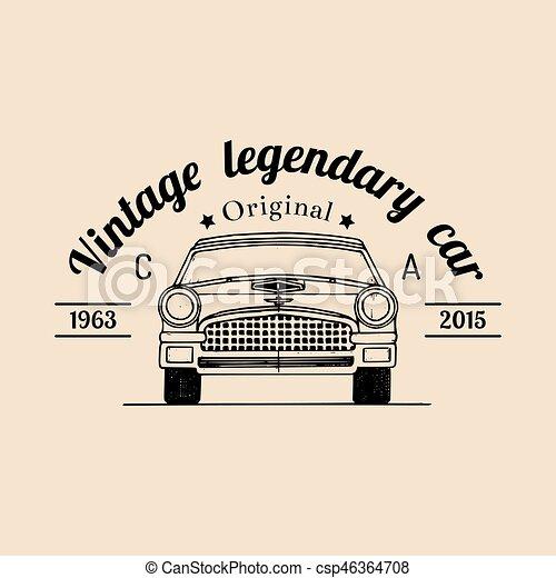 rendbehozás, illustration., autó, retro, autó, jel - csp46364708