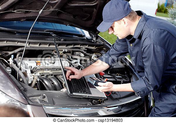 rendbehozás, service., dolgozó, autószerelő, autó - csp13194803