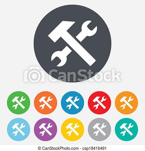 rendbehozás, szolgáltatás, szerszám, jelkép., aláír, icon. - csp18416491
