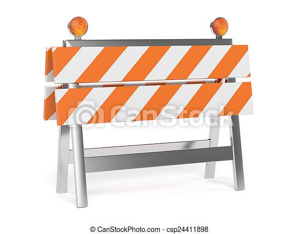 render, コーン, 道の 構造, 下に, 3d, 障壁 - csp24411898