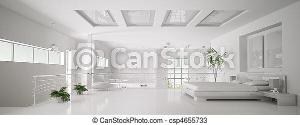 render, 全景, 寢室, 內部, 白色, 3d - csp4655733