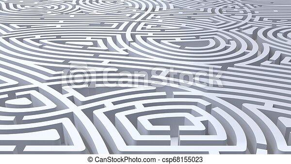 3d Rendering von kompliziertem, weißem Labyrinth abstrakt weißem Hintergrund - csp68155023