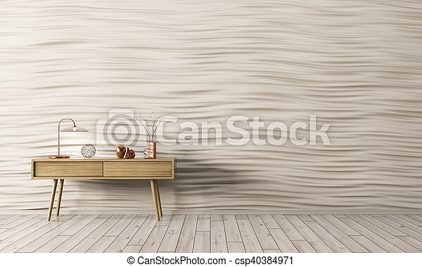 render, bois, intérieur, table, côté, 3d - csp40384971