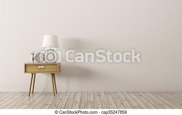 render, bois, intérieur, table, côté, 3d - csp35247859