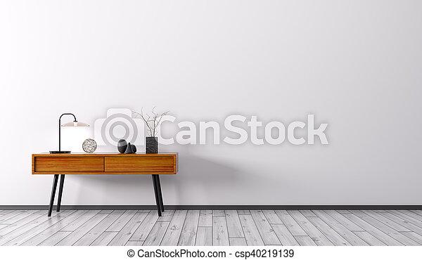 render, bois, intérieur, table, côté, 3d - csp40219139