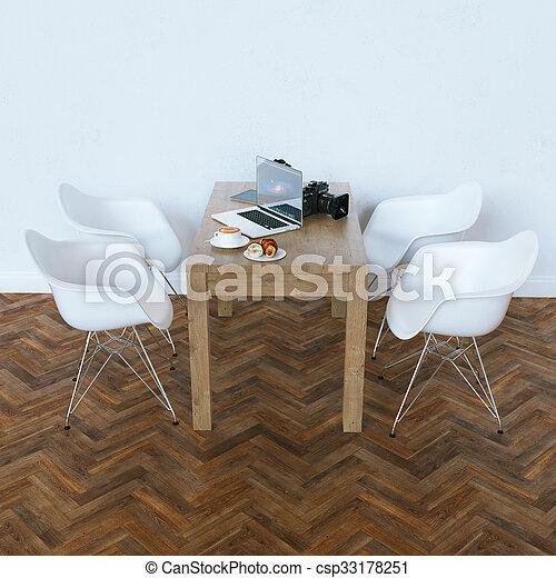 render, contemporain moderne, interior., blanc, 3d - csp33178251