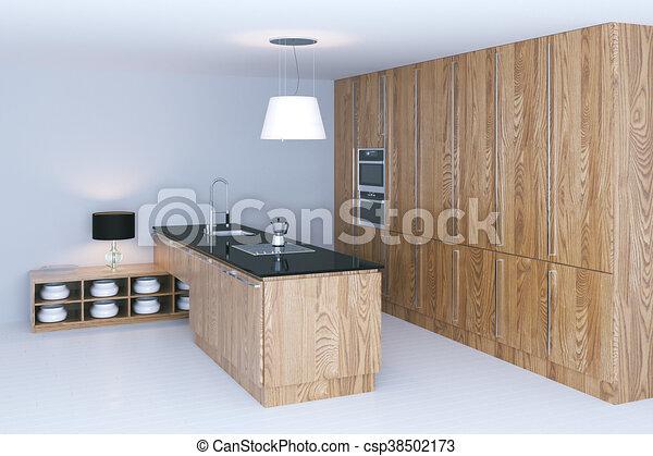 Render, embaldosado, de madera, diseño, interior, blanco ...