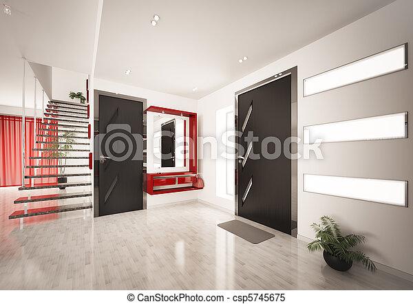 render, escalier, moderne, intérieur, salle, 3d