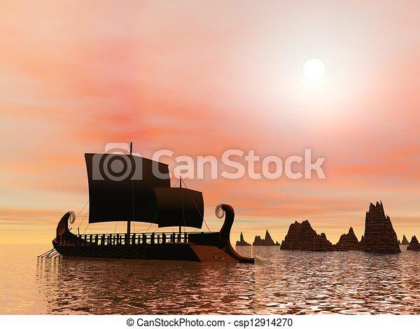 render, grec, -, trireme, bateau, 3d - csp12914270