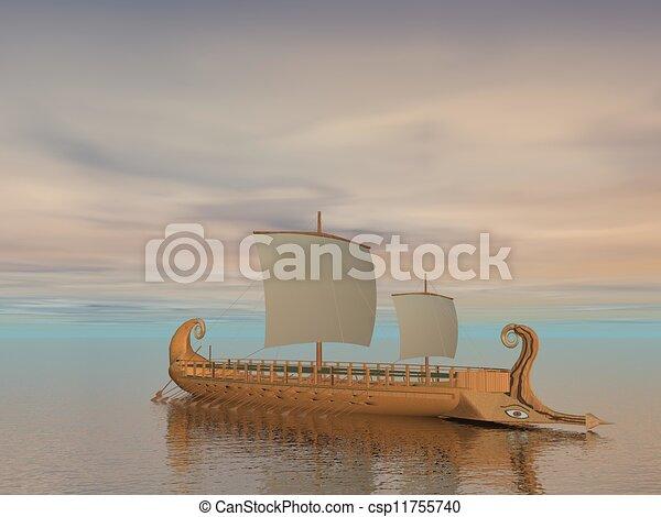 render, grec, -, trireme, bateau, 3d - csp11755740