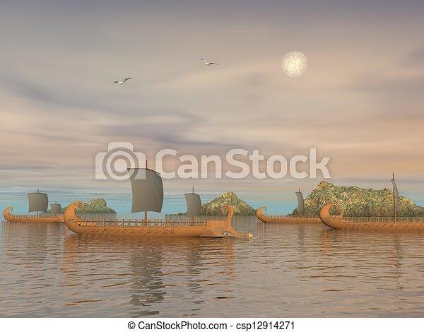 render, grec, -, trireme, bateaux, 3d - csp12914271