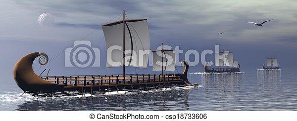 render, grec, -, trireme, bateaux, 3d - csp18733606