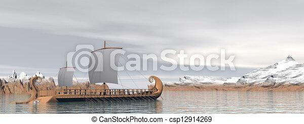 render, grec, -, trireme, bateaux, 3d - csp12914269