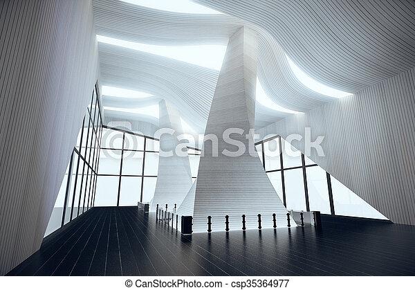 render, moderne, intérieur, blanc, vide, 3d - csp35364977