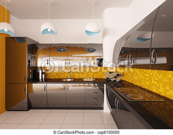 render, moderno, diseño, interior, cocina, 3d