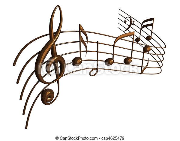 render, notas, aislado, blanco, musical, 3d - csp4625479